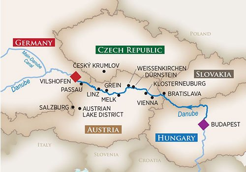 hosted Danube River Cruise Map